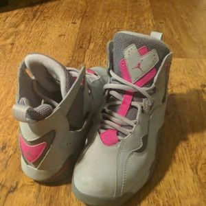 Girls size 3 pink and gray Jordans